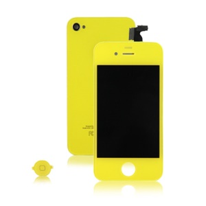 Colored iPhone 4 Conversion Kit (LCD Assembly + Back Housing + Home Button) - Yellow