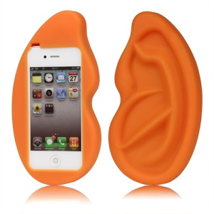 Giant Ear Shaped Silicone Case for iPhone 4 4S - Orange