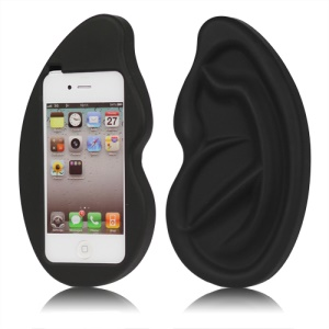 Giant Ear Shaped Silicone Case for iPhone 4 4S - Black