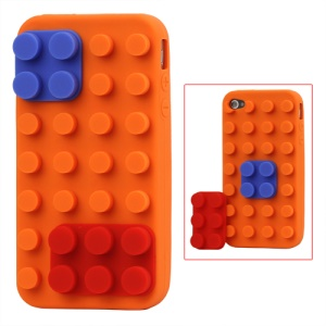 Building Block Silicone Case for iPhone 4 4S - Orange