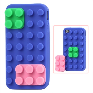 Building Block Silicone Case for iPhone 4 4S - Blue
