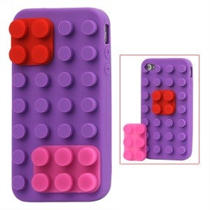 Building Block Silicone Case for iPhone 4 4S - Purple