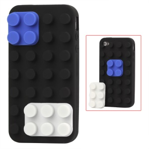 Building Block Silicone Case for iPhone 4 4S - Black