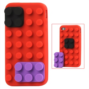 Building Block Silicone Case for iPhone 4 4S - Red