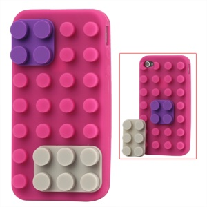 Building Block Silicone Case for iPhone 4 4S - Rose