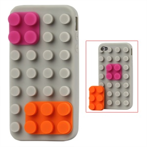 Building Block Silicone Case for iPhone 4 4S - Grey