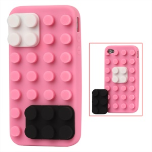 Building Block Silicone Case for iPhone 4 4S - Pink
