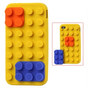 Building Block Silicone Case for iPhone 4 4S - Yellow