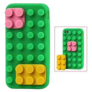 Building Block Silicone Case for iPhone 4 4S - Green