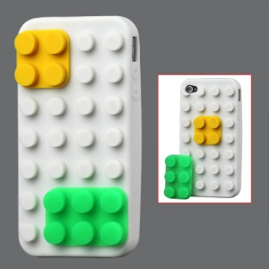Building Block Silicone Case for iPhone 4 4S - White