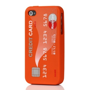 Stylish Credit Card Silicone Case Cover for iPhone 4 4S - Orange