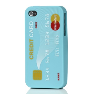 Stylish Credit Card Silicone Case Cover for iPhone 4 4S - Baby Blue