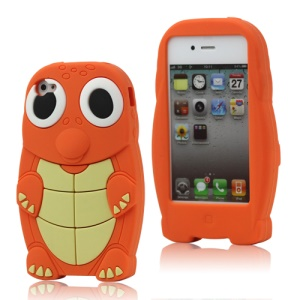 Cute Sea Turtle Silicone Case Cover for iPhone 4 4S - Orange