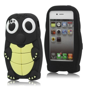 Cute Sea Turtle Flexible Silicone Cover for iPhone 4 4S - Black