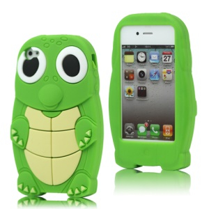 Lovely Sea Turtle Silicone Case Cover for iPhone 4 4S - Green