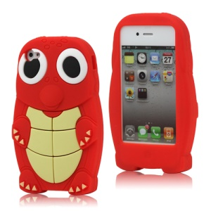 iPhone 4 4S Cute Sea Turtle Silicone Case Cover - Red