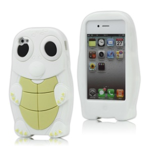 Cute Sea Turtle Silicone Case Cover for iPhone 4 4S - White