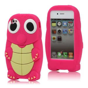 Adorable Sea Turtle Silicone Skin Case for iPhone 4 4S - Rose