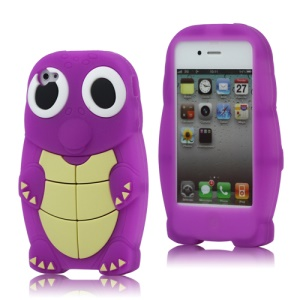 Lovely Sea Turtle Silicone Skin Case Cover for iPhone 4 4S - Purple