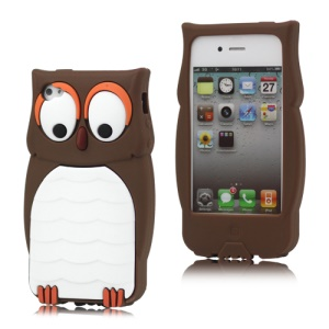 Cute Owl Designs Silicone Case Cover Skin for iPhone 4 4S - Coffee