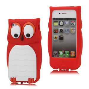 Adorable Owl Designs Silicone Skin Case for iPhone 4 4S - Red