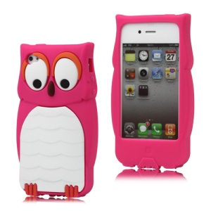 Endearing Owl Designs Silicone Case for iPhone 4 4S - Rose