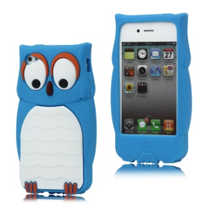 Likable Owl Designs Silicone Cover for iPhone 4 4S - Blue