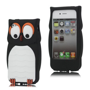 Cute Owl Designs Flexible Silicone Case Cover for iPhone 4 4S - Black