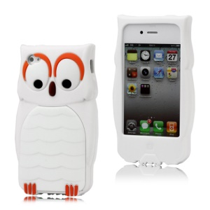 iPhone 4 4S Adorable Owl Designs Silicone Case Cover Skin - White