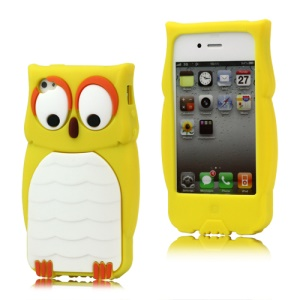 Endearing Owl Designs Silicone Case for iPhone 4 4S - Yellow