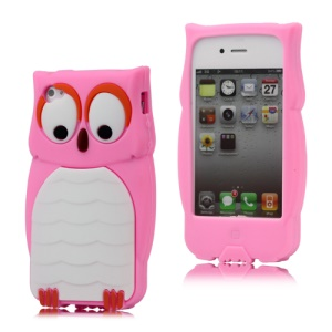 Adorable Owl Designs Silicone Skin Cover for iPhone 4 4S - Pink
