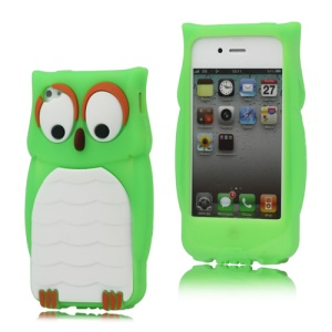 iPhone 4 4S Likable Owl Designs Silicone Skin Cover Case - Green