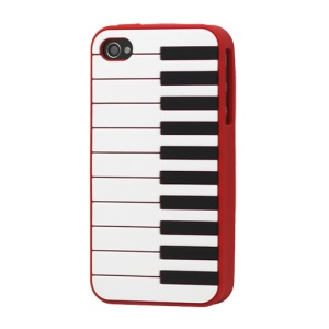 Stylish Piano Silicone Case Cover for iPhone 4 4S - Red