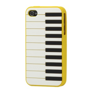 Stylish Piano Silicone Skin Case for iPhone 4 4S - Yellow