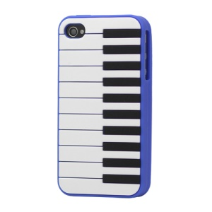 Stylish Piano Silicone Case for iPhone 4 4S - Dark Blue