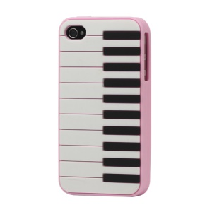 Stylish Piano Silicone Cover Case for iPhone 4 4S - Pink