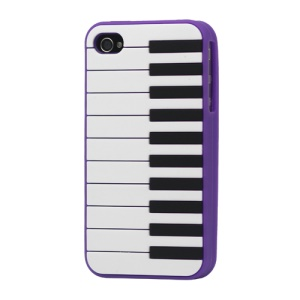 Stylish Piano Silicone Cover Case for iPhone 4 4S - Purple