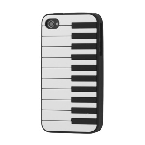Stylish Piano Silicone Case Cover for iPhone 4 4S - Black