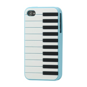 Stylish Piano Silicone Case Cover for iPhone 4 4S - Baby Blue