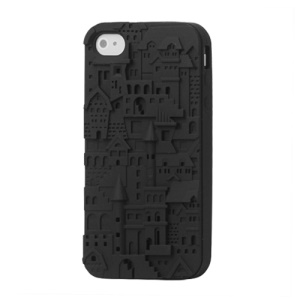 Retro 3D Castle Silicone Case Cover for iPhone 4 4S - Black