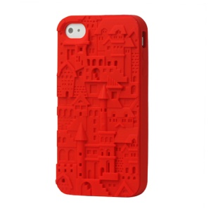 Retro 3D Castle Silicone Skin Case for iPhone 4 4S - Red