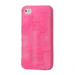 Retro Castle 3D Silicone Case Cover for iPhone 4 4S - Pink