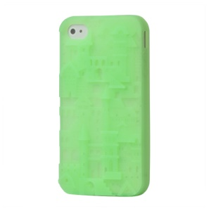 Retro 3D Castle Silicone Case Cover for iPhone 4 4S - Green