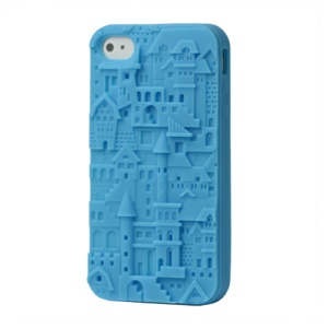 Retro 3D Castle Silicone Case Cover for iPhone 4 4S - Blue