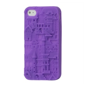 Retro 3D Castle Silicone Case Cover for iPhone 4 4S - Purple