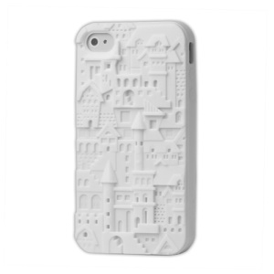 Retro 3D Castle Silicone Case for iPhone 4 4S - White