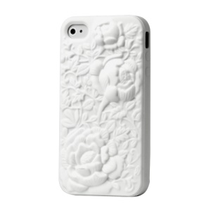 3D Flowers Silicone Skin Cover for iPhone 4 4S - White