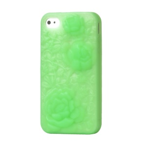 3D Flowers Silicone Skin Cover for iPhone 4 4S - Green