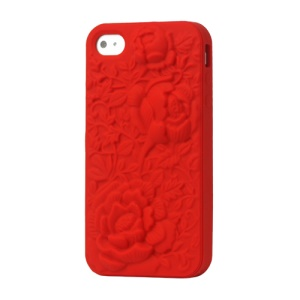 3D Flowers Silicone Case Cover for iPhone 4 4S - Red