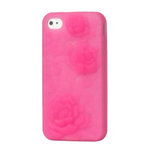 iPhone 4 4S 3D Case Cover Flowers Silicone - Pink